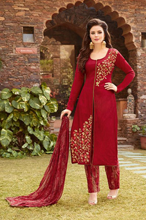 Essence By Ambica Designer With Embroidery Work Jam Satin Suits 8505
