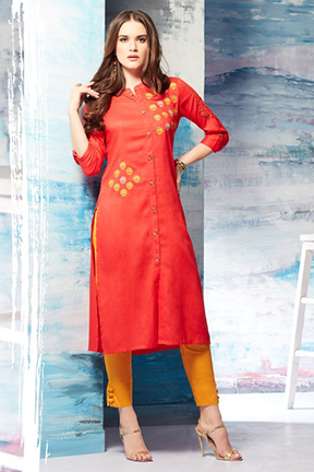 Tzu gracy summer 2018 designer kurti fabric- slub rayon 1002