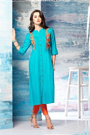 Tzu gracy summer 2018 designer kurti fabric- slub rayon 1006
