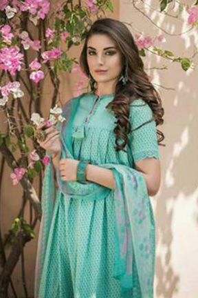Tac fab chalan book fabric top with embroidery neck ghera pure cotton suits 1690 B