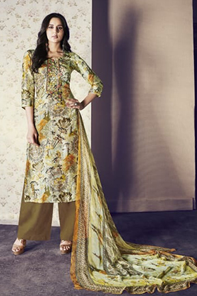 Jay Vijay Shai Garnet Cotton Salwar Suits 1570