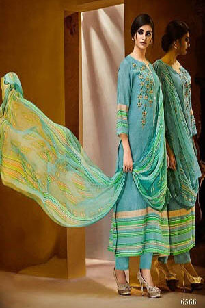 Haya Paridhan Pure Linen With Stripes Digital Print Salwar Kameez 6566