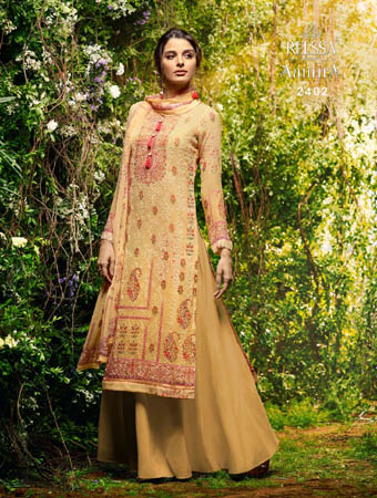 Relssa Aamira Pure Bemberg Georgette Embroidery Slawar Suits 2402