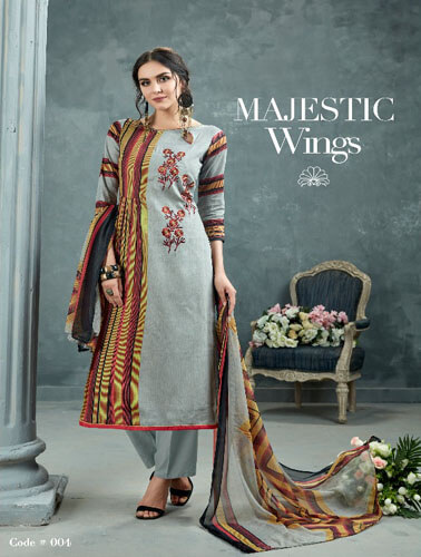 AT Zarqush VOL 54 Satin fabric Printed with Embroidery Suit 004