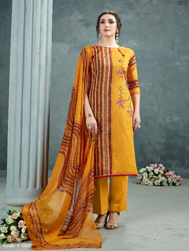AT Zarqush VOL 54 Satin fabric Printed with Embroidery Suit 009