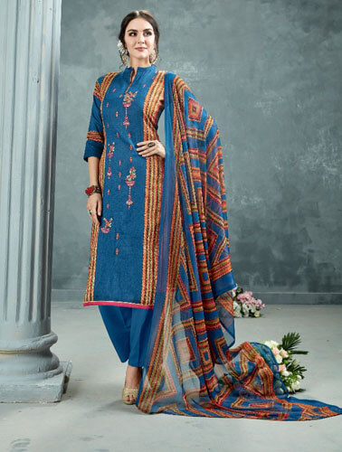 AT Zarqush VOL 54 Satin fabric Printed with Embroidery Suit 006