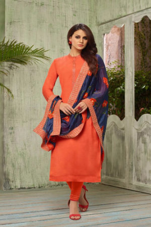 Angroop Plus Diana masline silk with embroidery Suit 5001 C