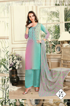 Fiona Noor down Jam Silk With Work and Handwork Suit 22116