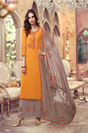 Fiona Suhana Sharma Faux georget with embroidery work Suit 22083