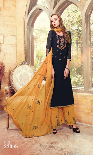 Fiona Suhana Sharma Faux georget with embroidery work Suit 22088