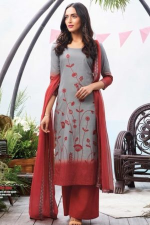 Ganga Autumn Superior Cotton Printed With Embroidery Suit 6326