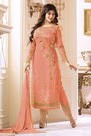 Glossy Heenaz Georgette With Heavy Embroidery Suit 18019