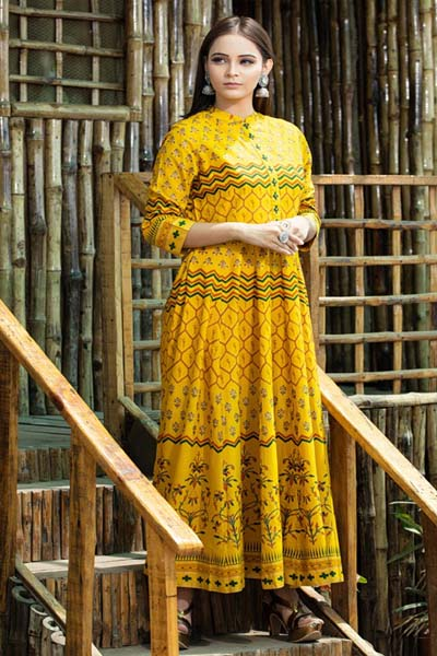 Psyna tex purity pure gold printed gown 1005