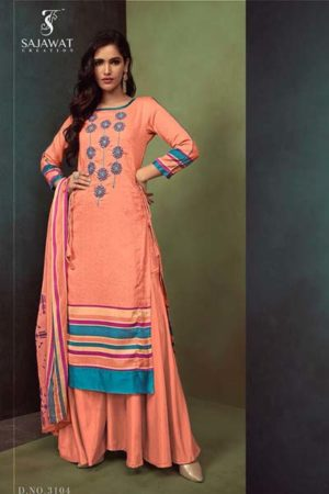 Sajawat creation Noor Pure Heavy Cotton satin suit 3104