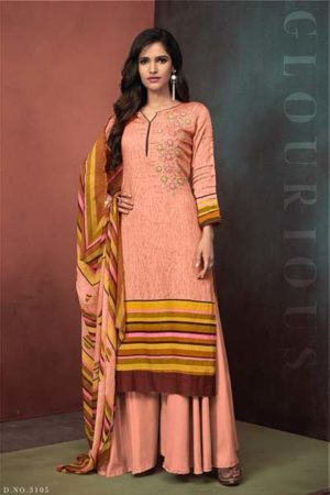 Sajawat creation Noor Pure Heavy Cotton satin suit 3105