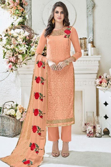 Shree Fabs Rivaaz Fox Georgette With Heavy Karachi Embroidery Suit 6161