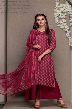 Tacfab Ruby Glace cotton printed Slawar Suit 1310A