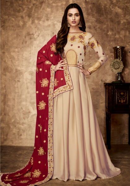 Aashirwad Gulnaz Royal Georgette Satin With Embroidery Gown 8023