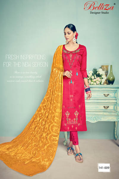 BelliZa DesigNer StuDio Banaras Pure Heavy Jam Silk Suits 141-009