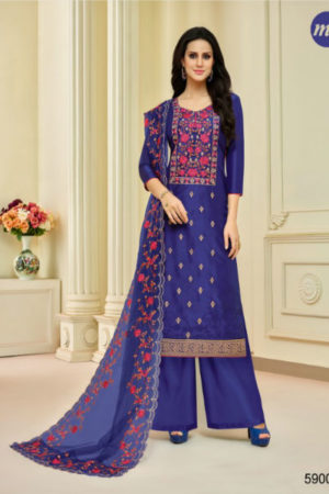 Buy Mf Zohra Pure Upada Silk With Full Embroidery Plazzo 59005