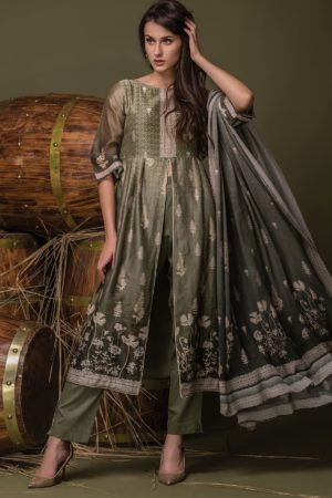 Buy Tacfab Ulhaas Chanderi Digital Print With Work Suits 2445