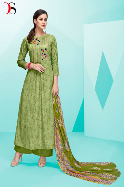 Deepsy Belista Pure Cotton Satin Print With Self Embroidery Suit 19003