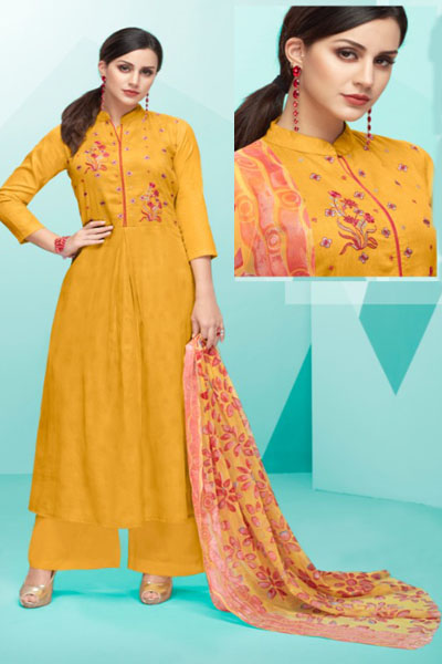 Deepsy Belista Pure Cotton Satin Print With Self Embroidery Suits 19005