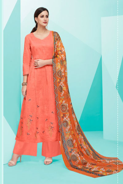 Deepsy Belista Pure Cotton Satin Print With Self Embroidery Suit 19006