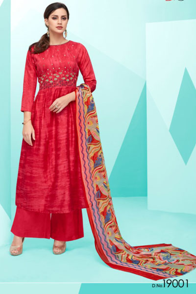 Deepsy Belista Pure Cotton Satin Print With Self Embroidery Suit 19001