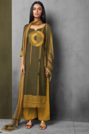 Ganga Between the Lines Modal Satin Printed With Extra Sleeves Suit 6508