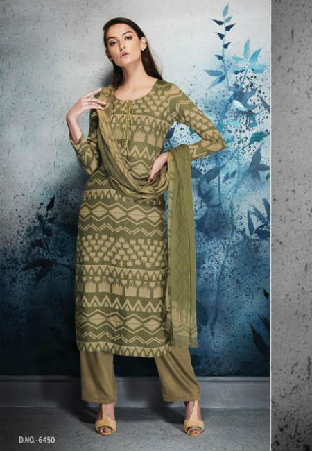 Ganga Erika Finest Natural Satin Printed and Embroidery Suit 6450