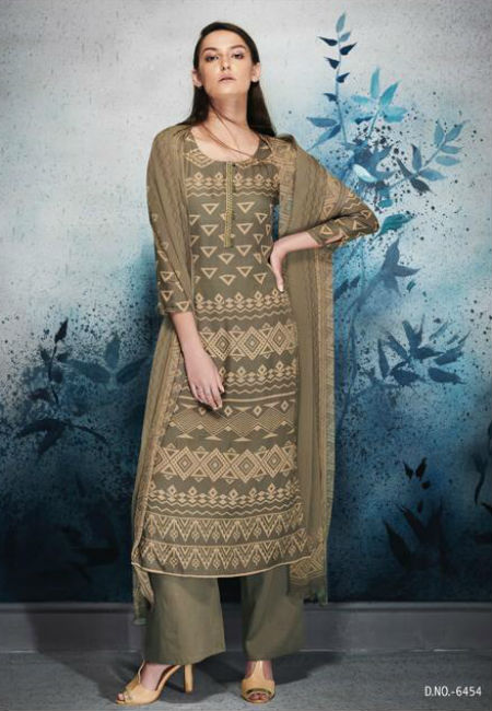 Ganga Erika Finest Natural Satin Printed and Embroidery Suit 6454