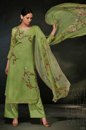 Ganga Garnet Cotton Silk Printed With Siroski Work Suit 6342