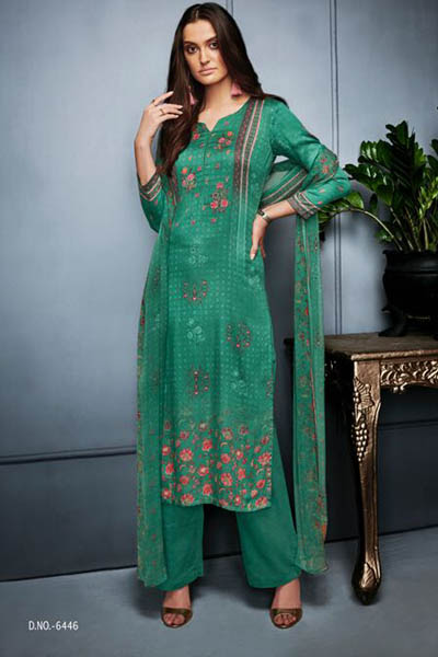 Ganga Libas Natural Satin Printed With Extra Sleeves Suit 6446