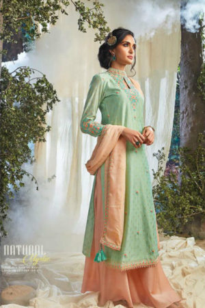 Ganga Natural Mystic Pure Kora Silk Goldfoil Embroidery and Handwork Suit 6623