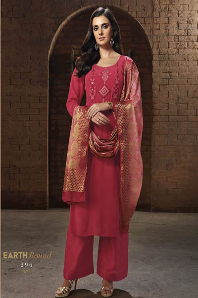 Ganga Reyna Earth Bound Pure Crepe Solid Embroidery Suit 296