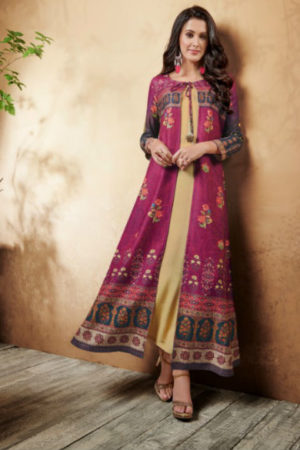 Hansa Hanskala Cotton Slub Digital Print and Handwork Kurti 1003
