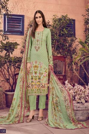 House of Lawn Muslin Pure Jam Satin Digital Style Print Suit 108