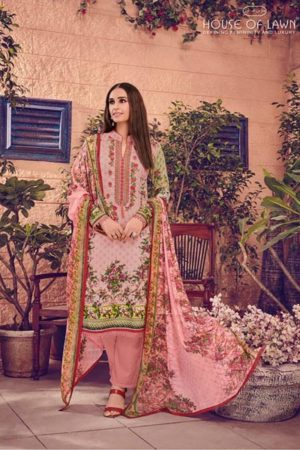 House of Lawn Muslin Pure Jam Satin Digital Style Print Suit 103