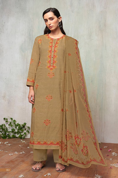 Itrana Nafees Cotton Satin Article Digital Print With Embroidery Suit 202