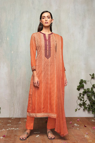 Itrana Nafees Cotton Satin Article Digital Print With Embroidery Suit 232