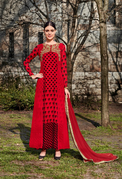 Jinaam Roma Carmel Printed Georgette With Heavy Neck Embrodery Suit 6693