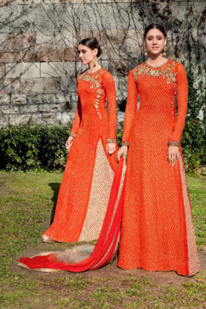 Jinaam Roma Carmel Printed Georgette With Heavy Neck Embrodery Suit 6694