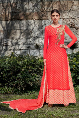 Jinaam Roma Carmel Printed Georgette With Heavy Neck Embrodery Suit 6698
