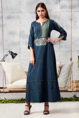 Kajree Blue lee vol-2 Embroidered Denim Gown 707