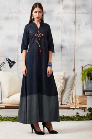 Kajree Blue lee vol-2 Embroidered Denim Gown 710