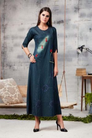 Kajree Blue lee vol-2 Embroidered Denim Gown 711