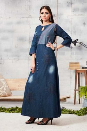 Kajree Blue lee vol-2 Embroidered Denim Gown 704