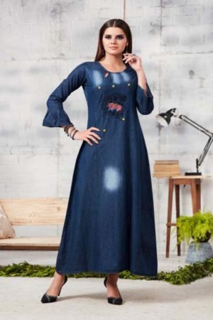 Kajree Blue lee vol-2 Embroidered Denim Gown 705