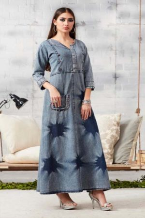 Kajree Blue lee vol-2 Embroidered Denim Gown 709